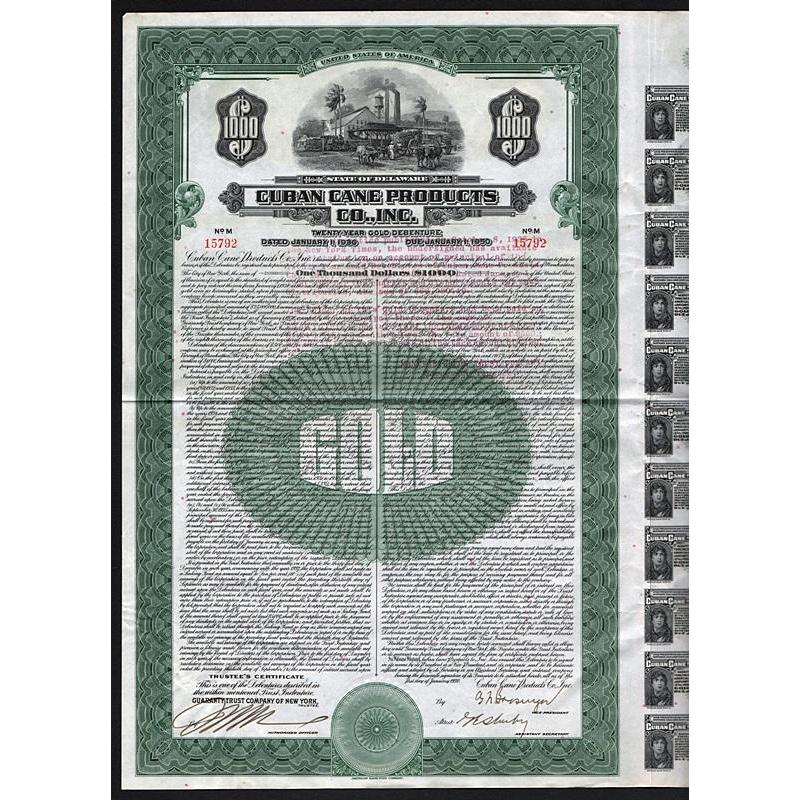 Cuban Cane Products Co., Inc. - $1000 Bond Stock Certificate