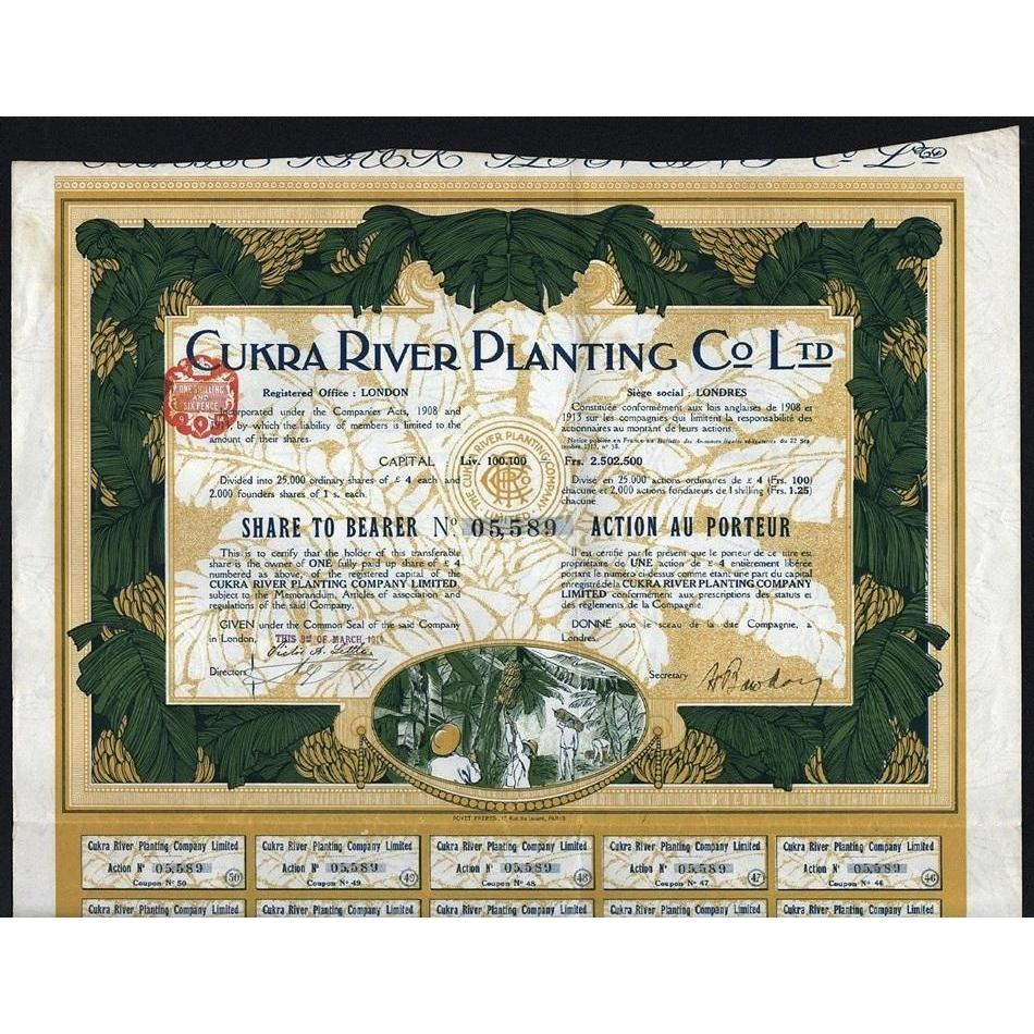 Cukra River Planting Co Ltd. Stock Certificate