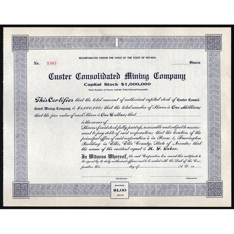 Custer Consolidated Mining Company Stock Certificate