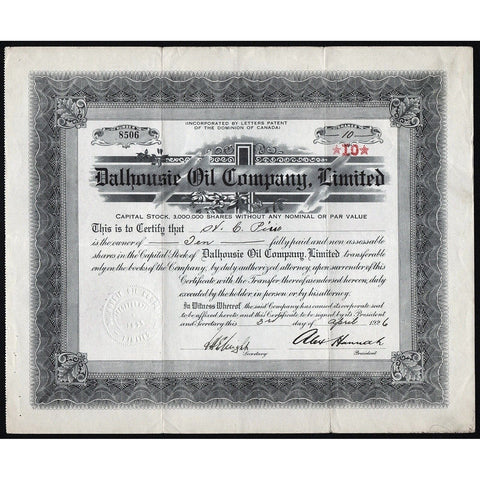 Dalhousie Oil Company, Limited Stock Certificate
