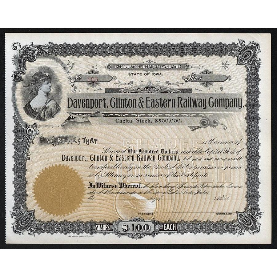 Davenport, Clinton & Eastern Railway Company Stock Certificate