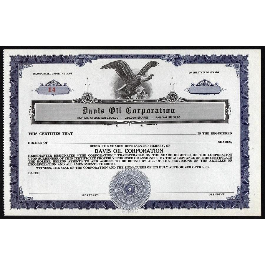 Davis Oil Corporation Stock Certificate