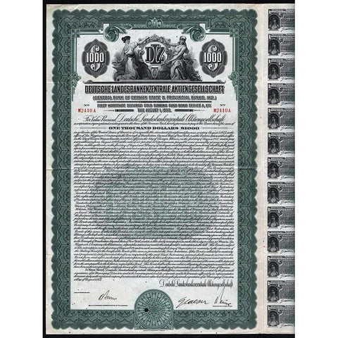 Deutsche Landesbankenzentrale Aktiengesellschaft (Central Bank of German State & Provincial Banks, Inc.) Stock Certificate