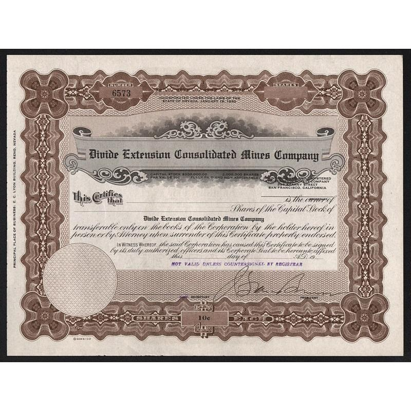 Divide Extension Consolidated Mines Company Stock Certificate