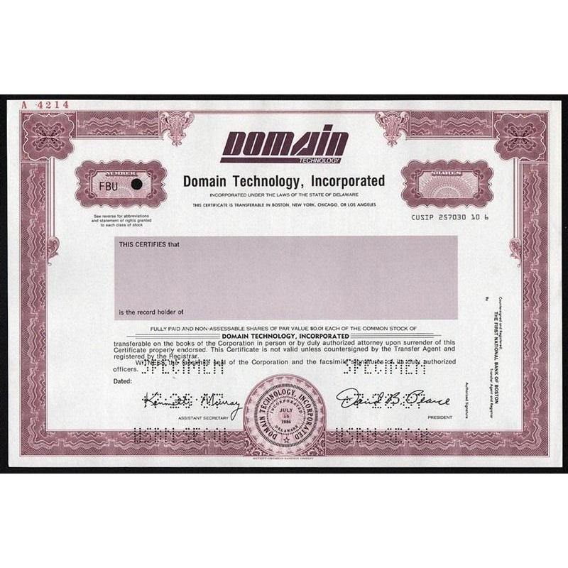 Domain Technology, Incorporated (Specimen) Stock Certificate