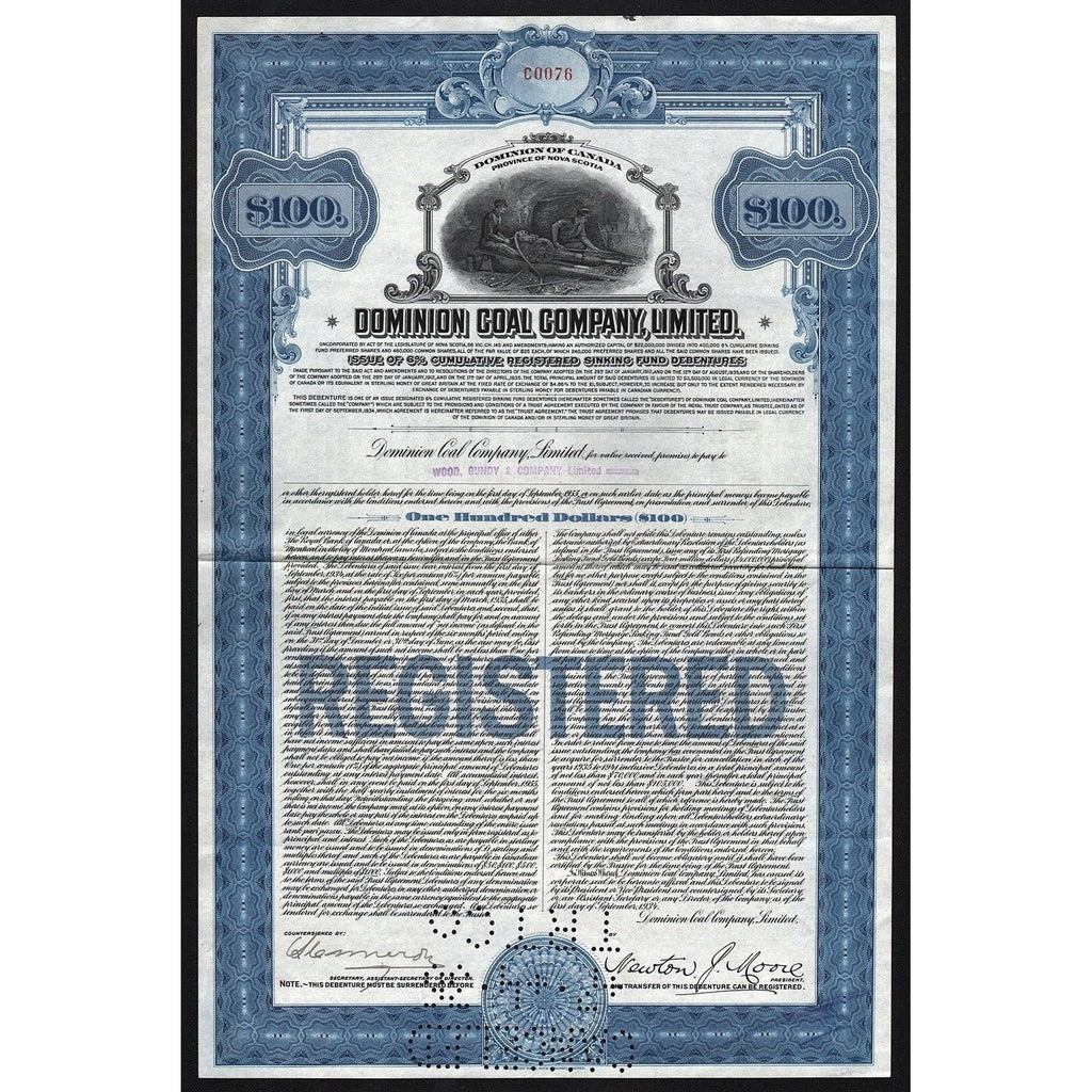 Dominion Coal Company, Limited Stock Certificate