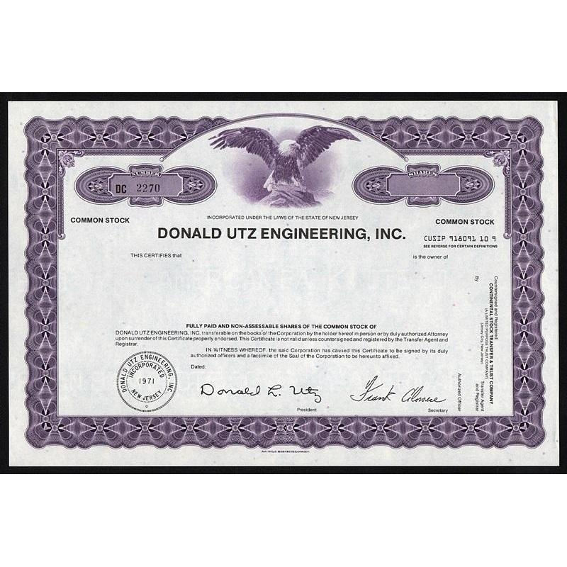 Donald Utz Engineering, Inc. Stock Certificate