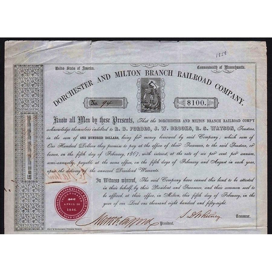 Dorchester and Milton Branch Railroad Company Stock Certificate