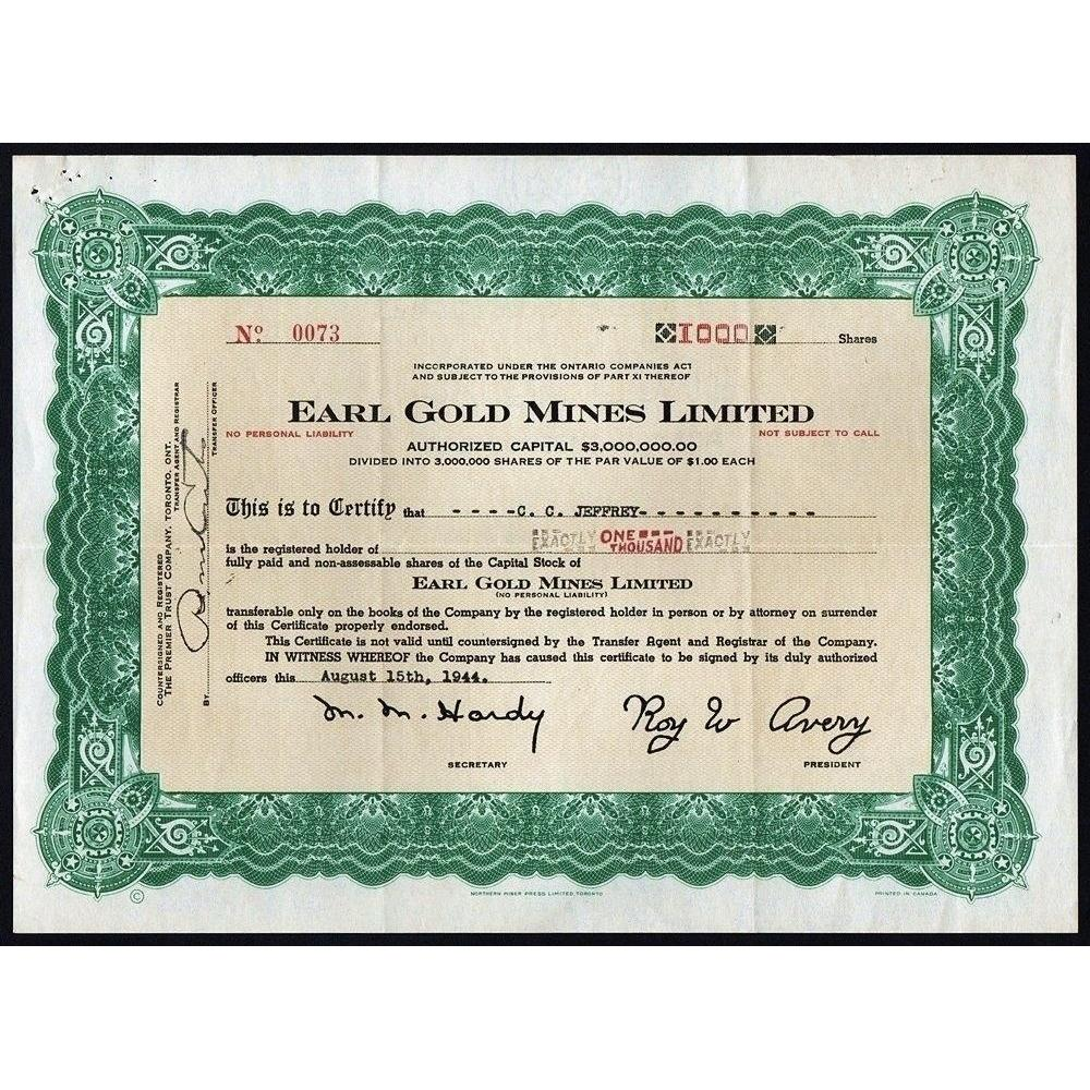 Earl Gold Mines Limited Stock Certificate