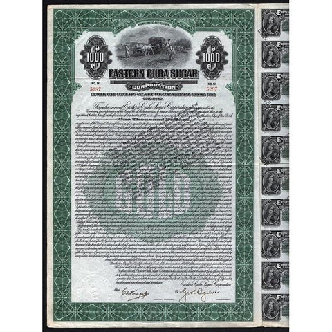 Eastern Cuba Sugar Corporation (Gold Bond) Stock Certificate