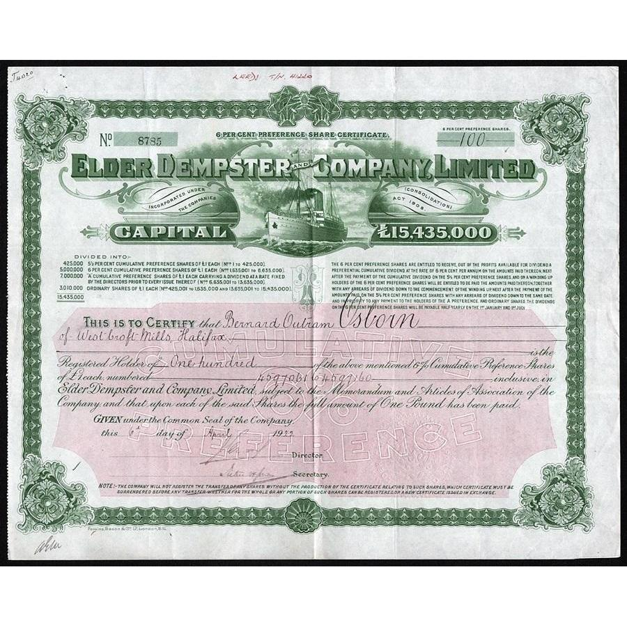 Elder Dempster and Company, Limited Stock Certificate