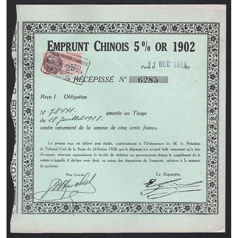 Emprunt Chinois 5% Or 1902 Stock Certificate