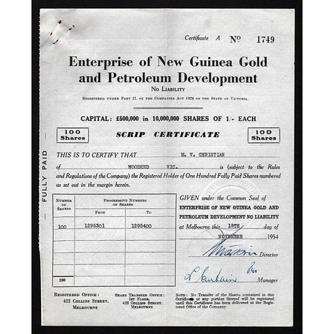 Enterprise of New Guinea Gold and Petroleum Development No Liability Stock Certificate