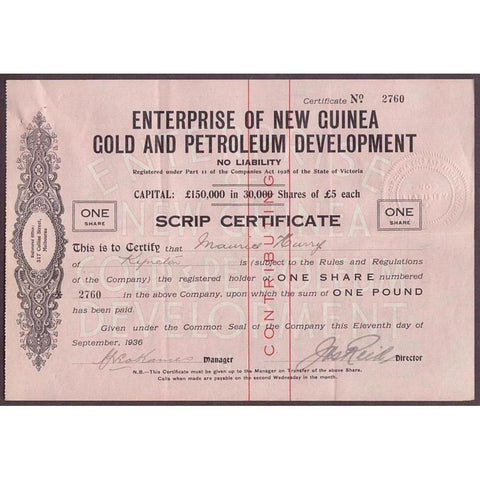 Enterprise of New Guinea Gold and Petroleum Development, No Liability Stock Certificate