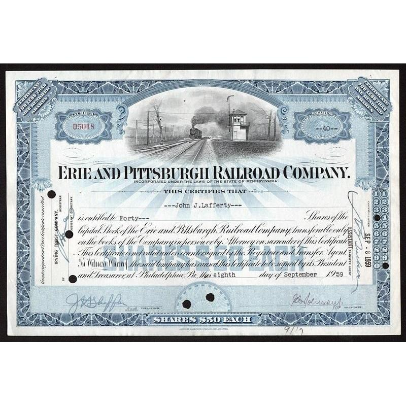 Erie and Pittsburgh Railroad Company Stock Certificate