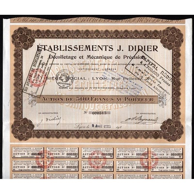 Etablissements J. Didier, Decolletage et Mechanique de Precision Societe Anonyme Stock Certificate