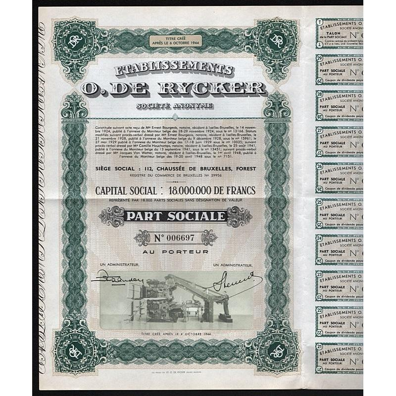 Etablissements O. De Rycker Societe Anonyme Stock Certificate