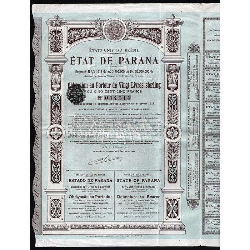 Etat de Parana - Estado do Parana - State of Parana Stock Certificate