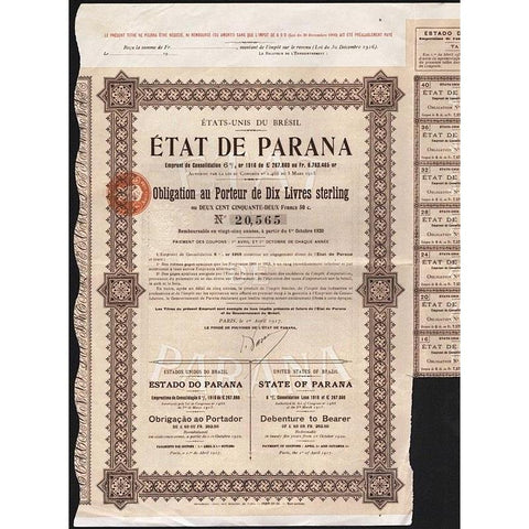 Etat de Parana / Estado do Parana / State of Parana Stock Certificate