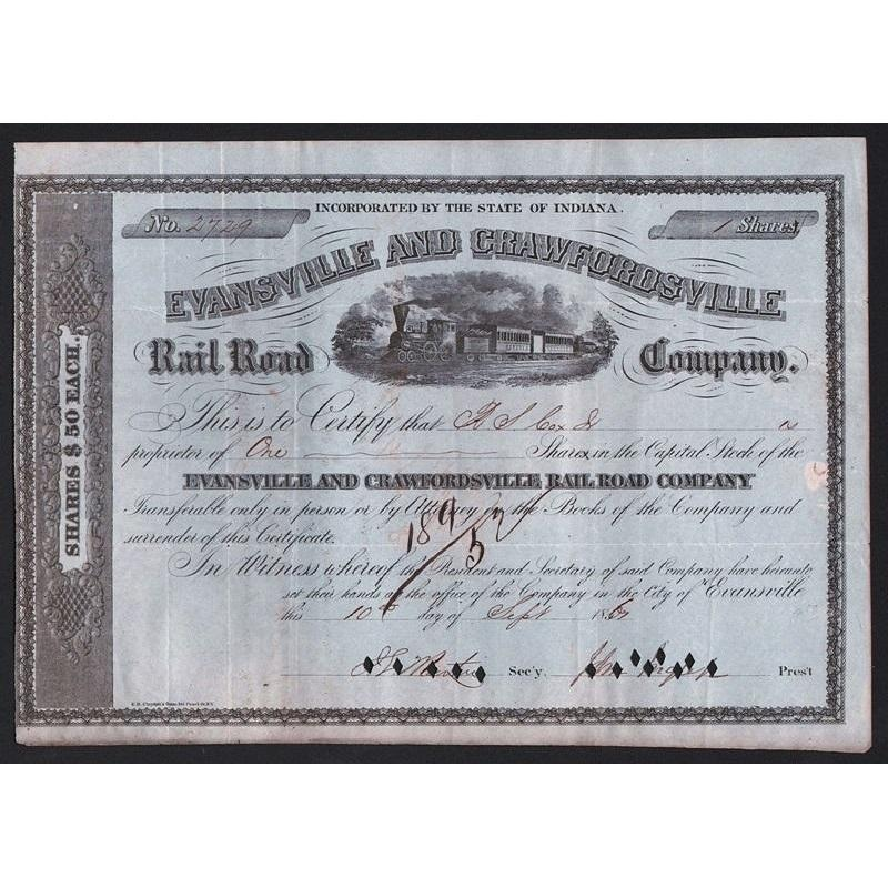 Evansville and Crawfordsville Rail Road Company Stock Certificate
