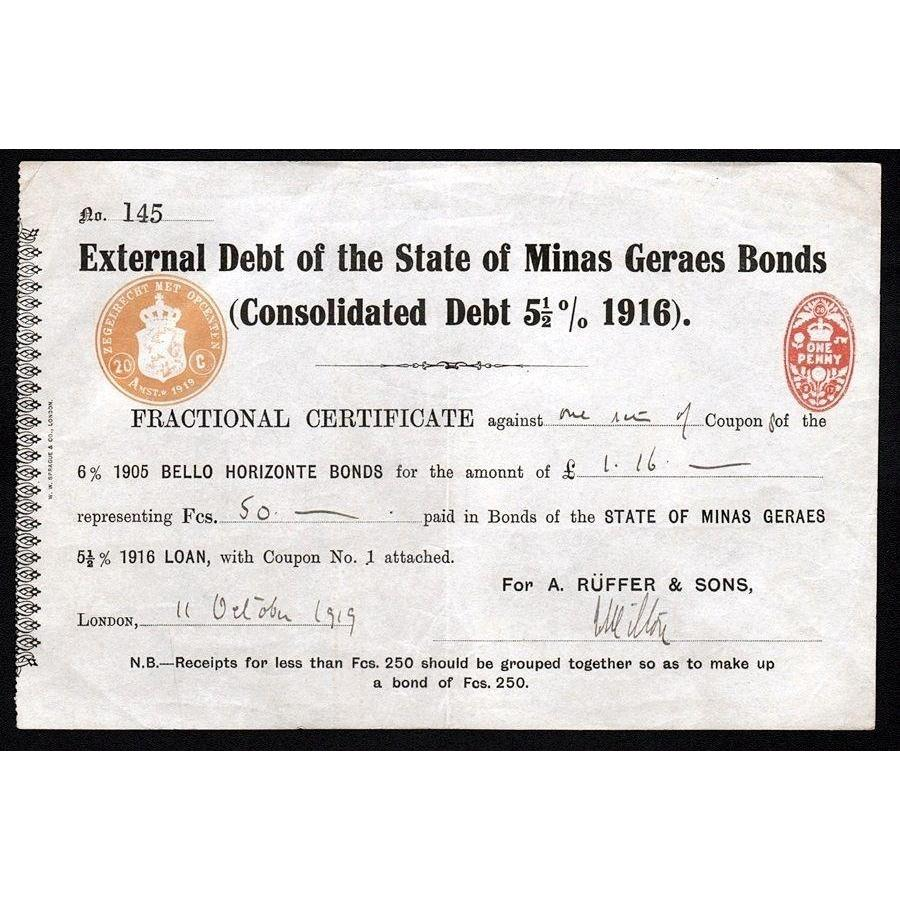 External Debt of the State of Minas Geraes Bonds Stock Certificate