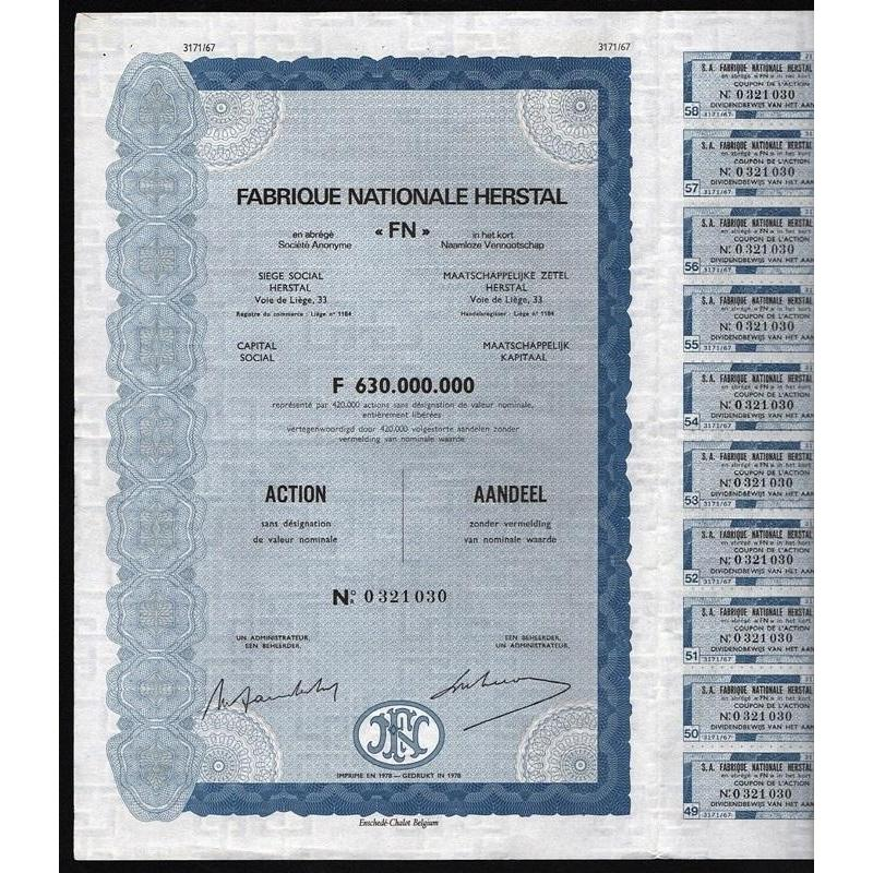 "Fabrique Nationale Herstal ""FN"" (Firearms) Stock Certificate"
