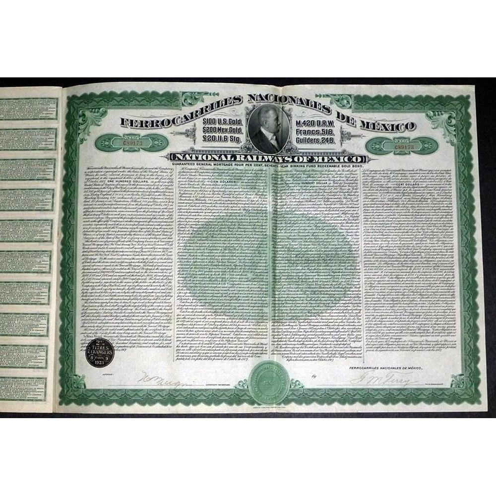 Ferrocarriles Nacionales de Mexico - National Railways of Mexico (Gold Bond) Stock Certificate