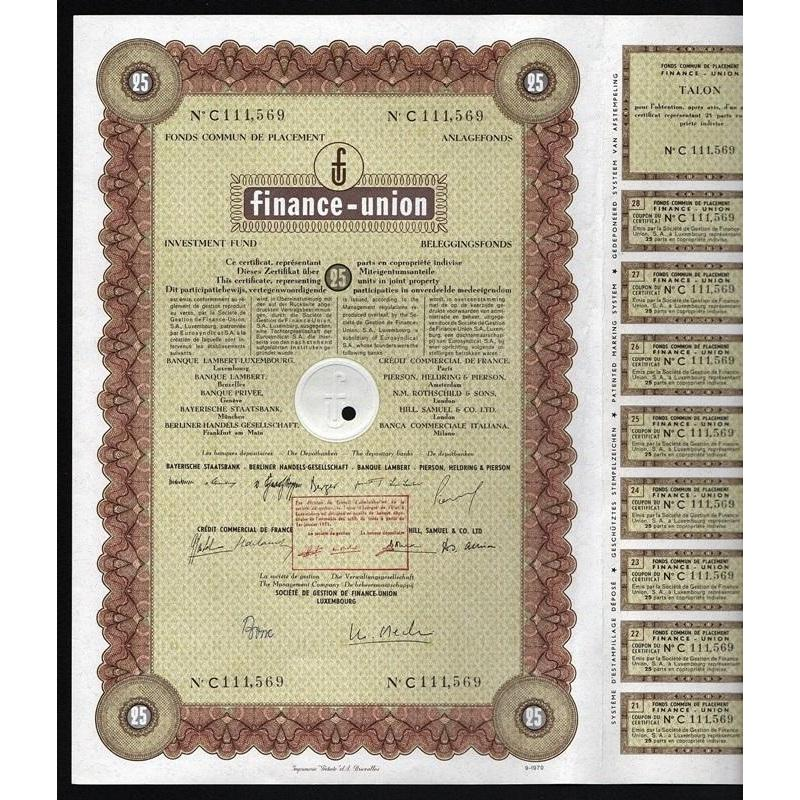 Finance-Union Investment Fund Stock Certificate