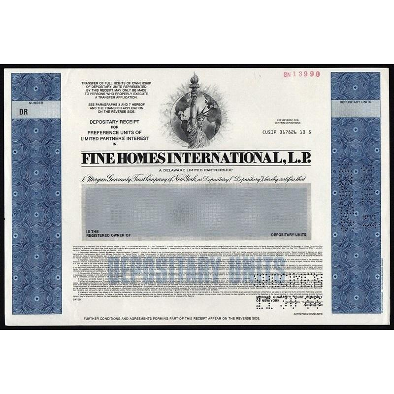 Fine Homes International, L.P. (Specimen) Stock Certificate