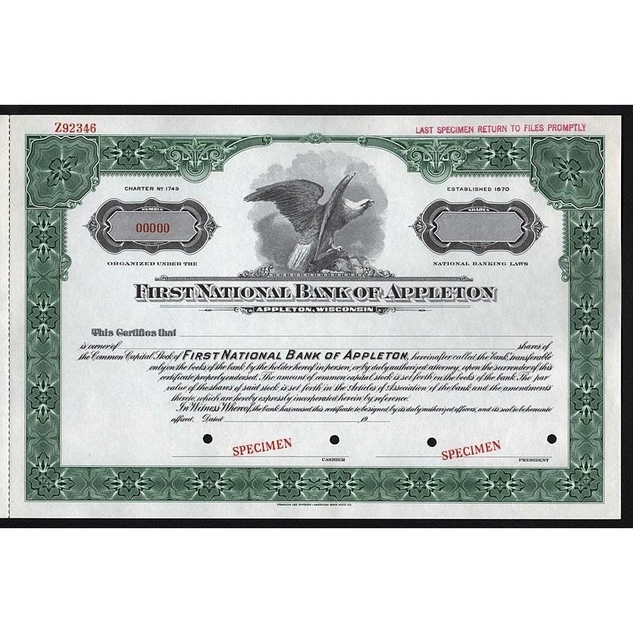 First National Bank of Appleton (Wisconsin) - Specimen Stock Certificate
