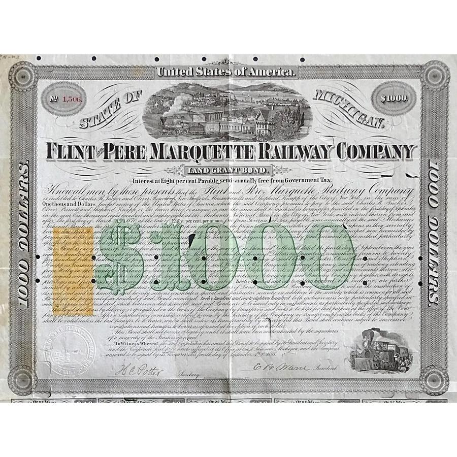 Flint and Pere Marquette Railway Company, Land Grant Bond Stock Certificate