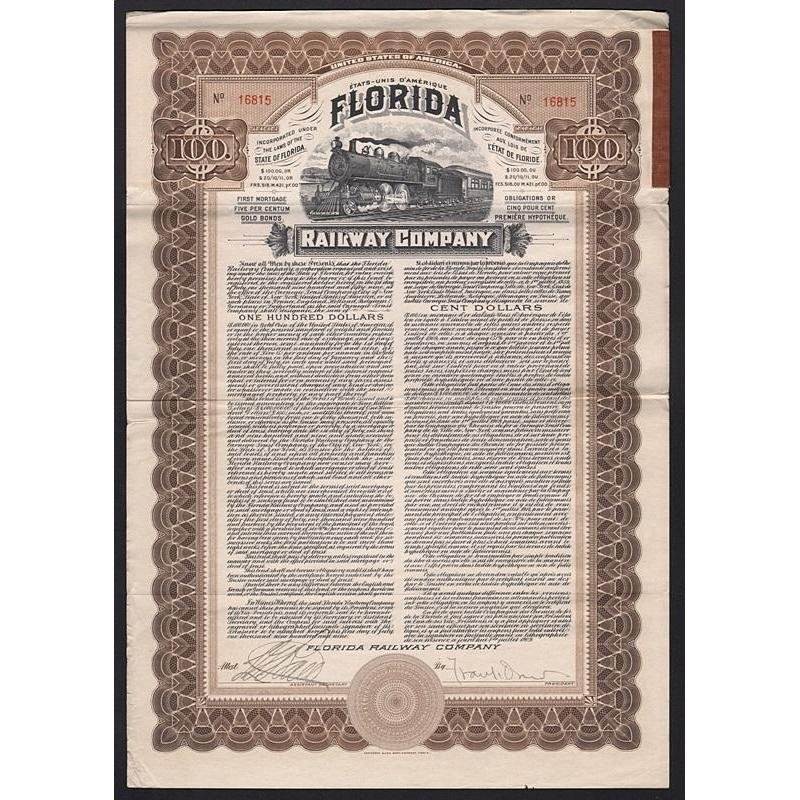 Florida Railway Company (Gold Bond) Stock Certificate