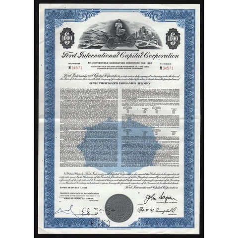 Ford International Capital Corporation Stock Certificate
