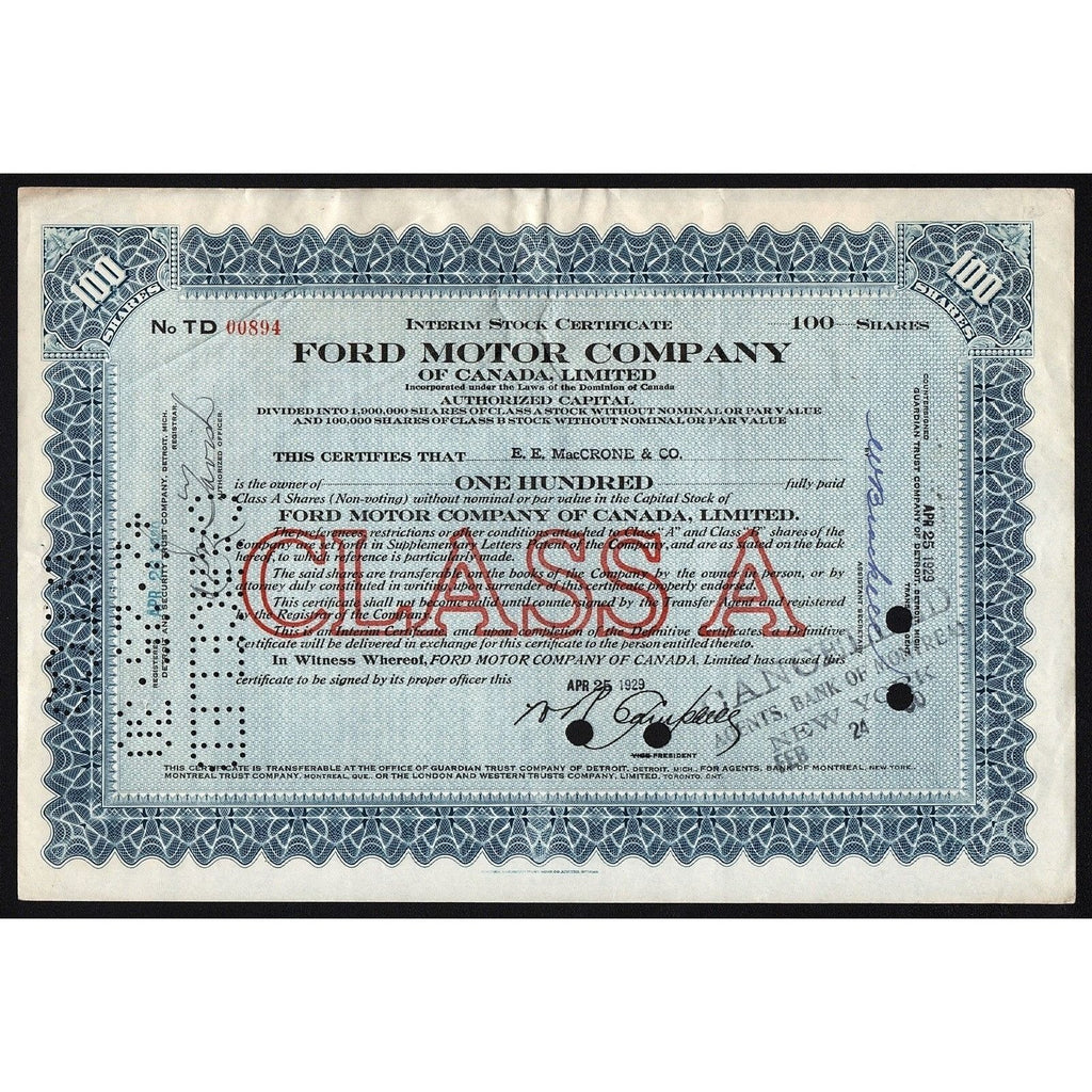 Ford Motor Company of Canada, Limited 1929 Stock Certificate