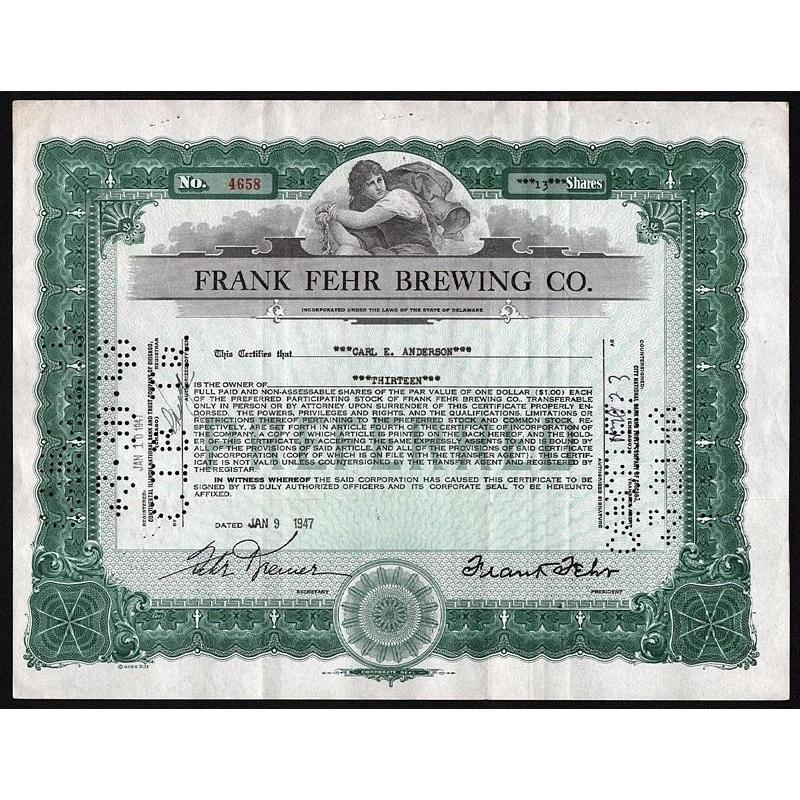 Frank Fehr Brewing Co. Stock Certificate
