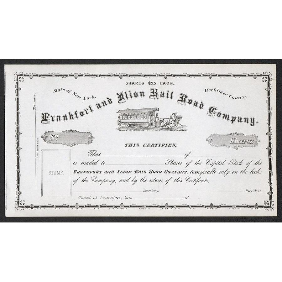 Frankfort and Ilion Rail Road Company Stock Certificate