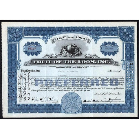 Fruit of the Loom, Inc. Stock Certificate
