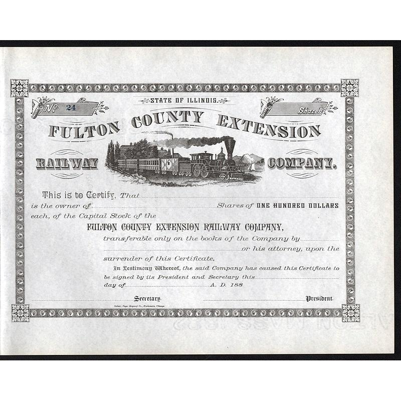 Fulton County Extension Railway Company Stock Certificate