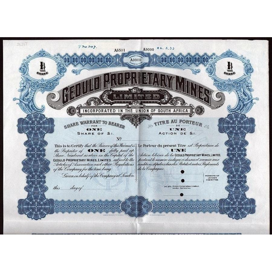 Geduld Proprietary Mines Stock Certificate