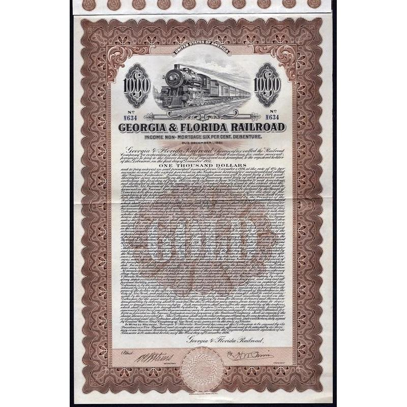 Georgia & Florida Railroad Stock Certificate