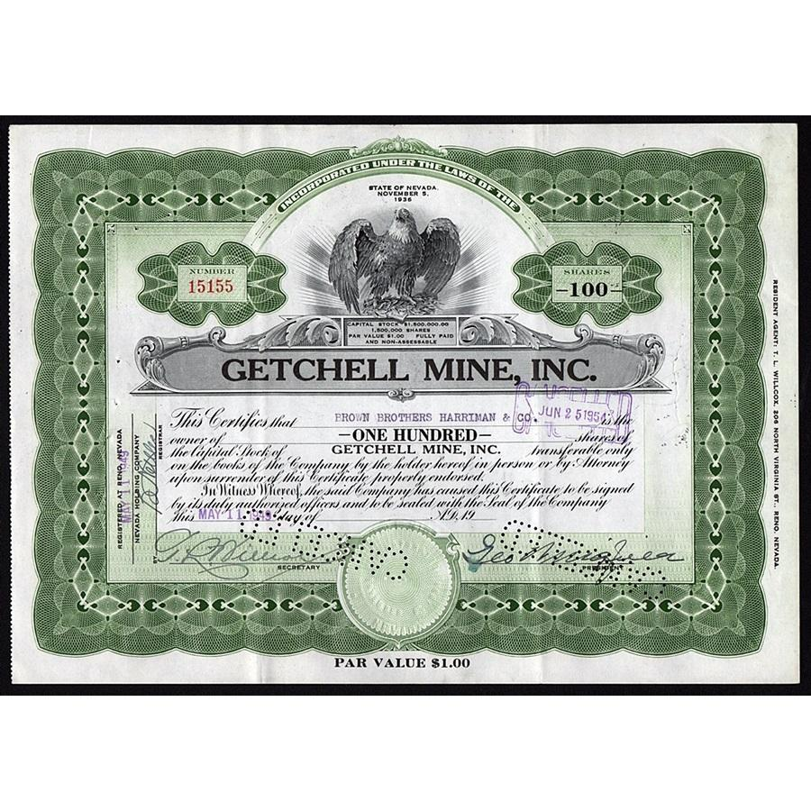 Getchell Mine, Inc. Stock Certificate
