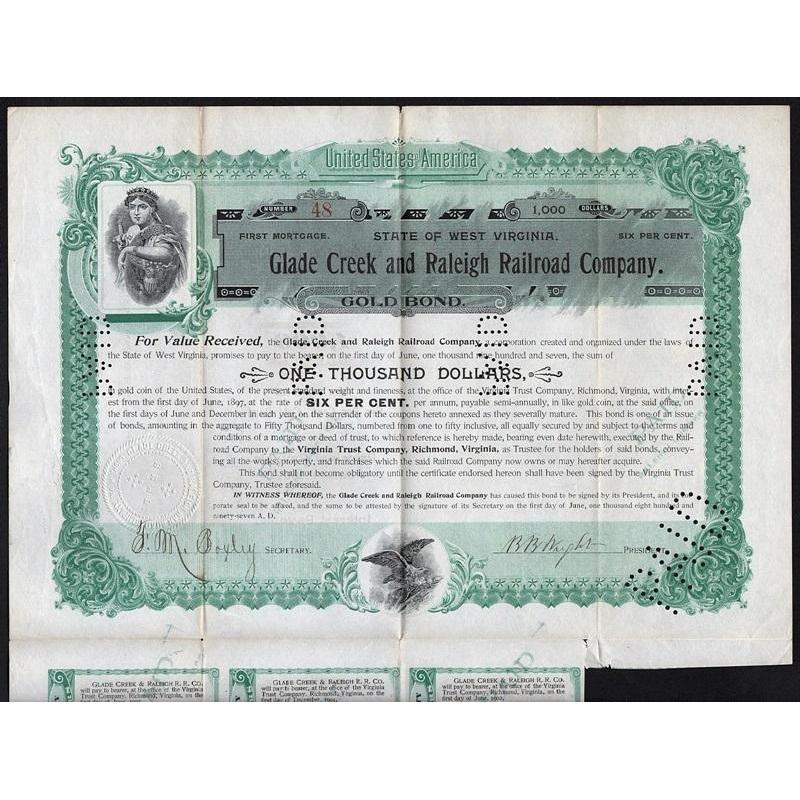 Glade Creek and Raleigh Railroad Company Stock Certificate