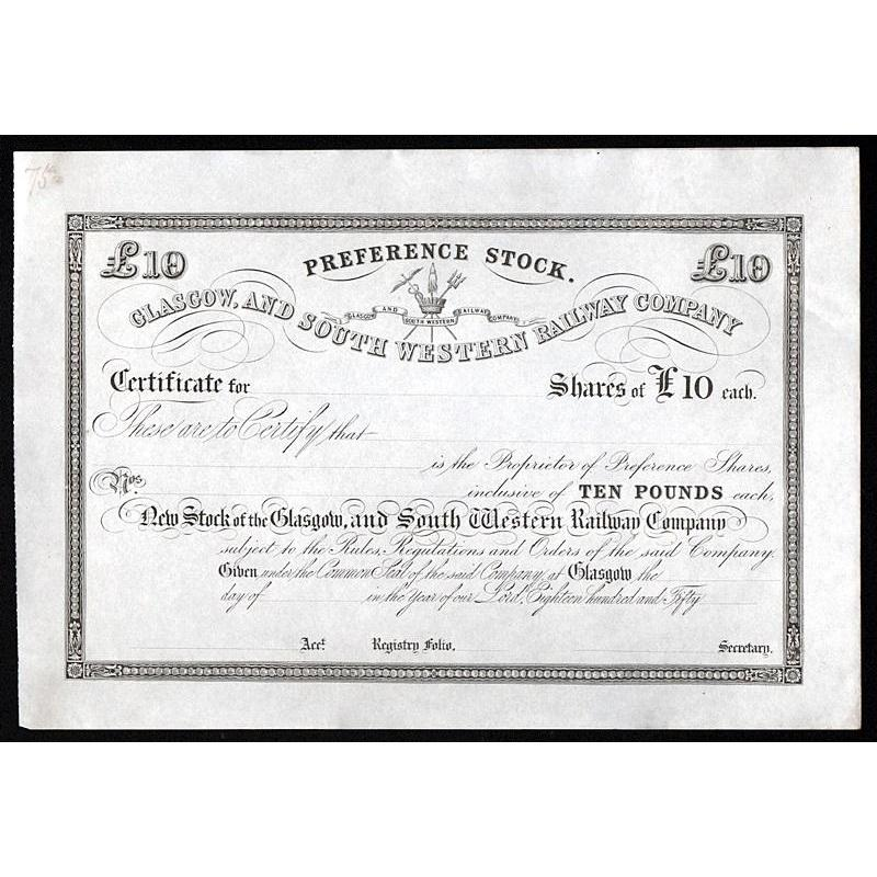 Glasgow and South Western Railway Company Stock Certificate