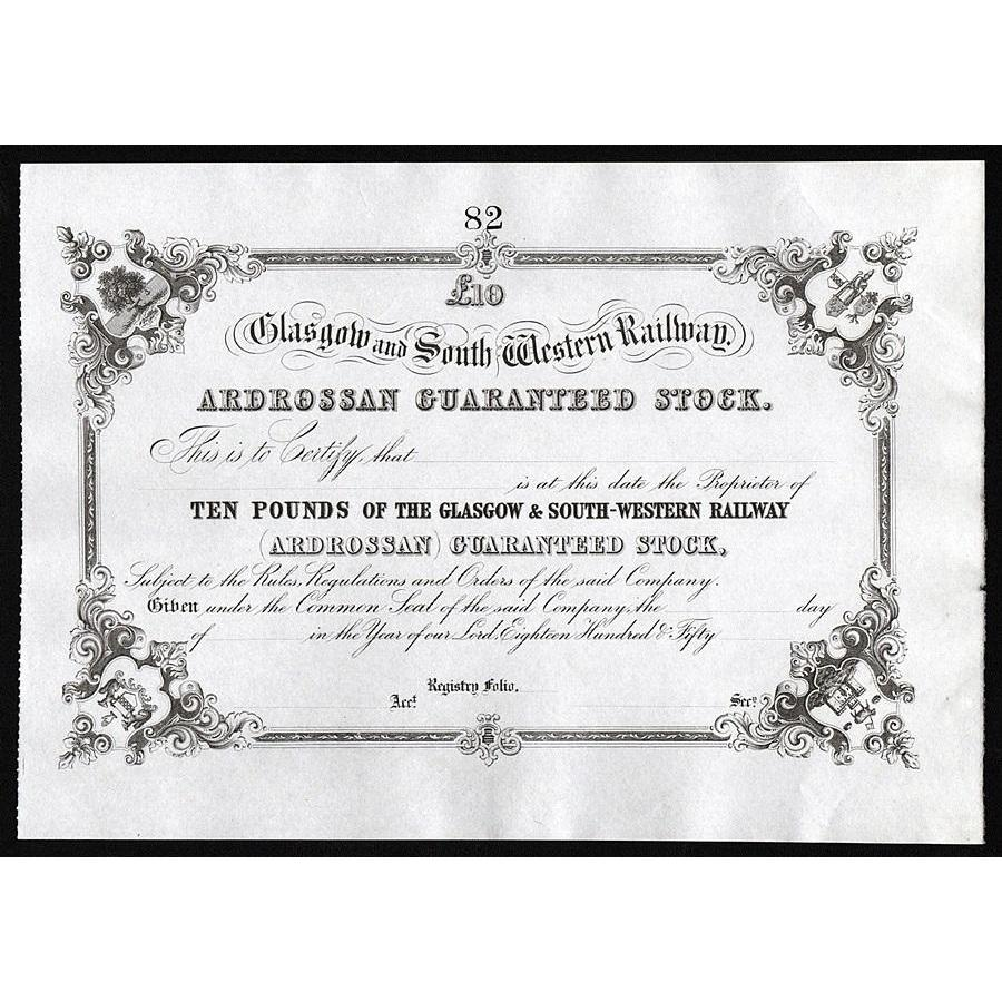 Glasgow and South Western Railway Stock Certificate