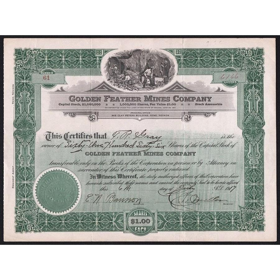 Golden Feather Mines Company Stock Certificate