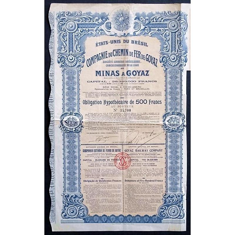 Goyaz Railway Company - Concessionnary of the Minas-Goyaz Line Stock Certificate