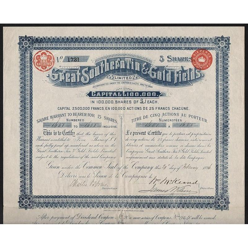 Great Southern Tin & Gold Fields, Limited Stock Certificate