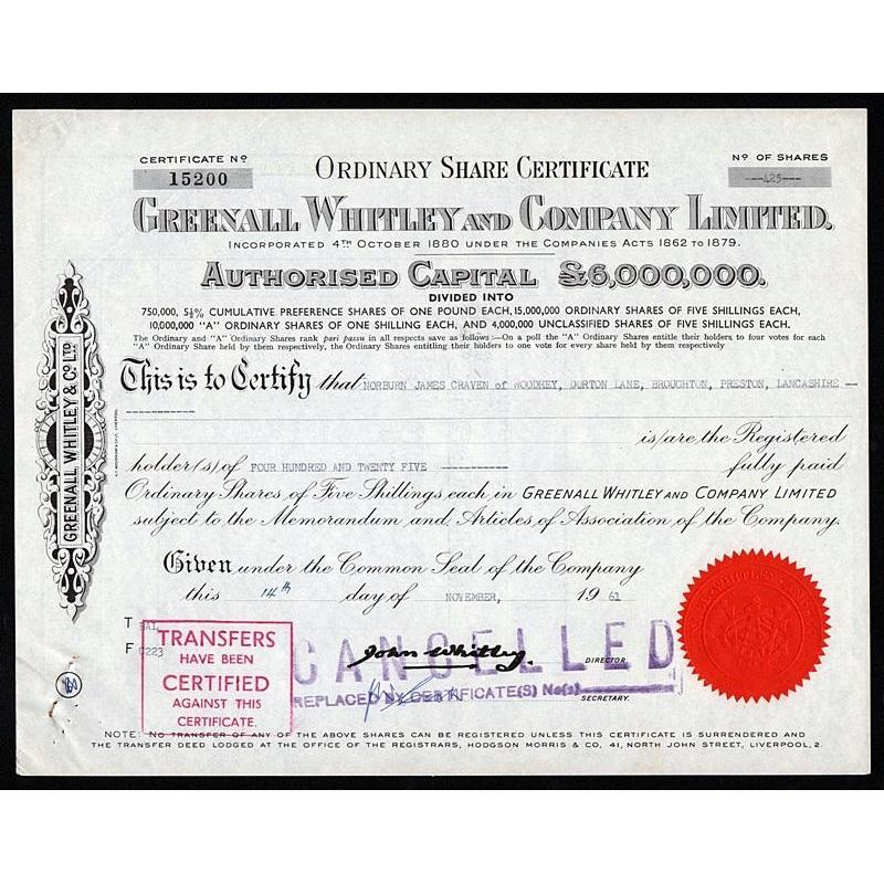 Greenall Whitley and Company Limited Stock Certificate