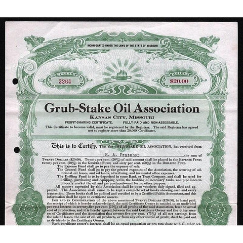 Grub-Stake Oil Association (Kansas City, Missouri) Stock Certificate