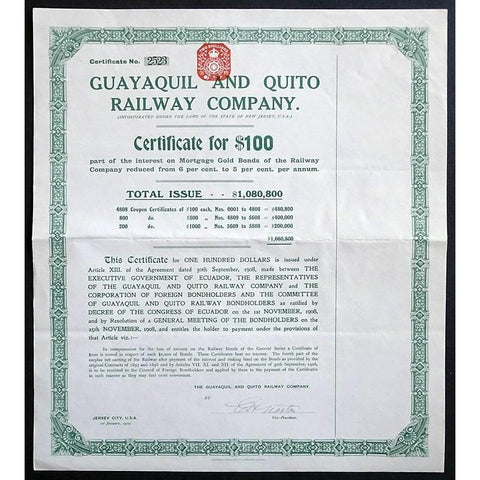 Guayaquil and Quito Railway Company Stock Certificate